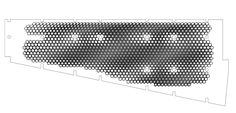 Parametric ceiling of curling hall in Saint-Petersburg designed by Solid Studio. Top view drawing