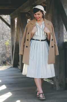 Gray Striped Dress, Classic Camel Coat, and T-strap Heels