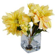 Hand-assembled in the USA, this lovely faux dahlia arrangement showcases a mouth-blown glass vase.     Product: Faux floral arrangem...