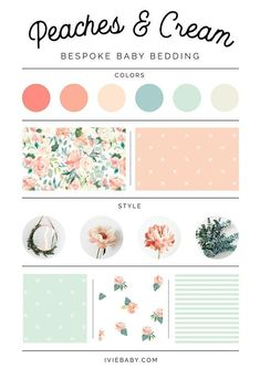 Peaches and Cream Collection: Organic Crib Sheet Baby Blanket Lovey Changing Pad Cover Swaddle Crib Skirt Nursing Pillow Cover Peach Nursery, Girl Nursery Colors, Bedroom Colors, Peach Bedding, Cream Bedding, Bedding Sets, Coral Baby Bedding, Pink Color Schemes, Colour Pallete