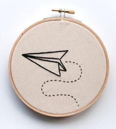 Paper Airplane Embroidered Wall Art                                                                                                                                                     More