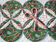 Christmas Table Runner Quilt Green Red White Candy by KeriQuilts
