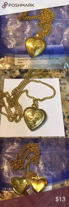 Gold Heart Locket Gold plated heart locket.New and never used. Jewelry Necklaces