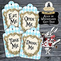 Alice in Wonderland Gift Tags - Alice in Wonderland Printable Tags - Drink Me - Eat Me - Take Me - Open Me - Alice in Wonderland Decor de LythiumArt en Etsy