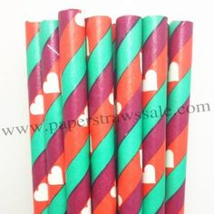 White Heart Paper Straws Dark Red Green Stripe http://www.paperstrawssale.com/white-heart-paper-straws-dark-red-green-stripe-500pcs-p-812.html