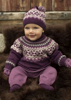 Ravelry: 27011 Dale Garn Baby Sweater pattern by Olaug Kleppe Baby Sweater Patterns, Baby Sweater Knitting Pattern, Fair Isle Knitting Patterns, Knit Baby Sweaters, Knitted Baby Clothes, Baby Patterns, Knit Patterns, Knitted Bags, Knitting For Kids