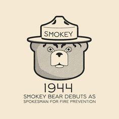 """This Day In History - Aug 9 - 1944 - Smokey Bear debuts as a """"spokesperson"""" for fire prevention. Us Forest Service, Smokey The Bears, Fire Prevention, Today In History, World History, Signage, Instagram Posts, Illustration, Adobe"""
