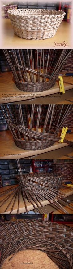 Paper Basket Weaving, Willow Weaving, Weaving Art, Weaving Patterns, Loom Weaving, Newspaper Basket, Newspaper Crafts, Sewing Baskets, Wicker Baskets