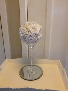 WEDDING TABLE CENTREPIECE X1WHITE ROSE BALL POMANDER & CRYSTAL JOB LOT AVAILABLE | eBay