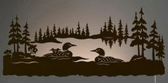 """42"""" Swimming Loon Family Scenic LED Back Lit Lighted Metal Wall Art"""