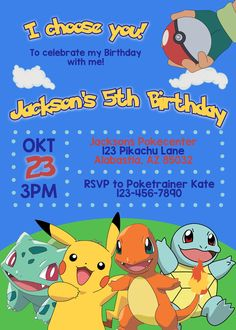 Pokemon Birthday Invitation, Printable Pokemon Invitation, Pokemon Party, Pokemon Invitation Card, Pikachu, Pokemon Go, Pokemon Invite  https://www.etsy.com/listing/465766050/pokemon-birthday-invitation-printable?ref=shop_home_active_26
