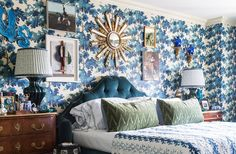 In true more is more style, designer Alex Papachristidis added a statement starburst mirror to his already showstopping bedroom wall.