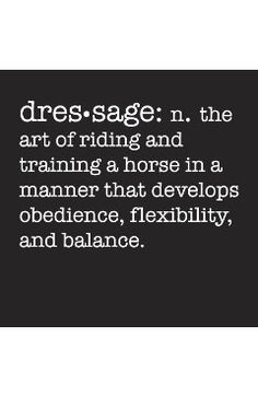 It's amazing how many people have NO idea what the true definition of dressage is!
