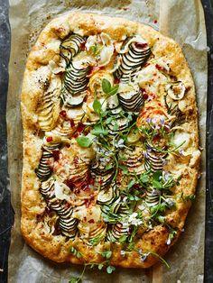 Spiralized Zucchini Tart with Gruyere | Use a spiralizer to create gorgeous wide ribbons of zucchini.