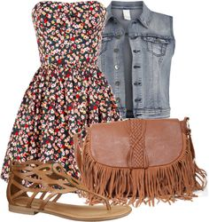 """""""Flower Dress and Denim Vest"""" by madsoccer ❤ liked on Polyvore"""