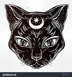 Black Cat Head Portrait With Moon. Ideal Halloween Background, Tattoo Art, Egyptian, Spirituality, Boho Design. Perfect For Print, Posters, T-Shirts And Textiles. Vector Illustration. - 479229835 : Shutterstock