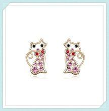 день матери австрийской crystal мода серебряные ювелирные изделия кошек формы серьги