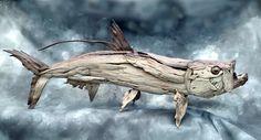 Tarpon sculpture in driftwood by Tony Fredriksson www.openskywoodart.com