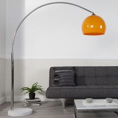 Arc lamp BIG BOW II orange floor lamp bow standard lamp floor light lighting in Home, Furniture & DIY, Lighting, Lamps Orange Floor Lamps, Arc Floor Lamps, Living Room Modern, Living Room Designs, Living Room Decor, 1960s Furniture, Innovation Living, Arc Lamp, Standard Lamps