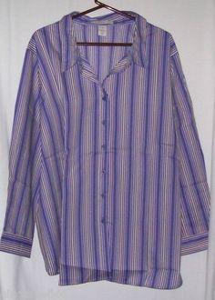 Roamans Size 4X Big Shirt Purple Stripes Long Sleeves Blouse New
