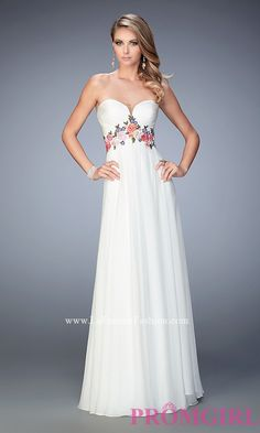 Long White Strapless Sweetheart Prom Dress Style: LF-22521