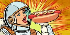 Buy Hungry Woman Astronaut Eating Hot Dog Sausage by studiostoks on GraphicRiver. Dog Pop Art, Pop Art Girl, Hot Dog Drawing, Hot Dogs, Hot Dog Restaurants, Pop Art Food, Art Deco Flowers, Desenho Pop Art, Famous Art Paintings