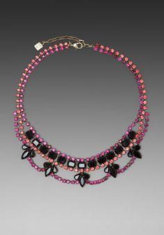 DANNIJO Viktor Necklace in Pink/Black