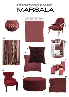 "Pantone just announced its colour of the year for Marsala a warm wine-influenced earthy red which will replace 2014 colour of the year Radiant Orchid. Marsala is described to be ""much like . Pantone Colors 2015, Pantone 2015, Color Of The Year, Home Decor Trends, Home Decor Accessories, House Colors, Colorful Interiors, Living Room Furniture, Home Furnishings"