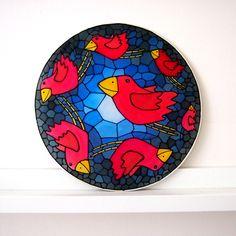 hedvábní ptáci | Ateliér B. KIOW Decorative Plates, Tableware, Home Decor, Dinnerware, Decoration Home, Room Decor, Tablewares, Dishes, Home Interior Design