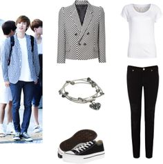 [Requested by letmebeyourjuliette] Outfit inspired by Exo's Chanyeol at the airport More Outfit on I Dress Kpop Get The Look : Checkered Blazer Charm Bracelet Black Converse White T-Shirt Black Skinny Jeans