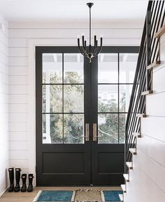 Brilliant Black Glass Front Door and 25 Best Black Front Doors Ideas On Home Design Black Exterior House Design, French Doors, Home, Interior Barn Doors, Windows And Doors, Painted Front Doors, Double Front Doors, Double Door Entryway, Doors Interior