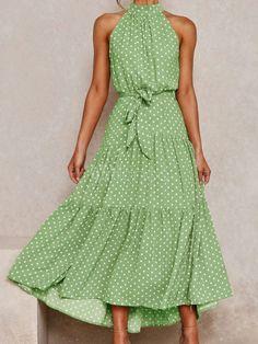 Halter Dress Casual, Green Dress Casual, Green Summer Dresses, Polka Dot Maxi Dresses, Dot Dress, Cute Dresses, Casual Dresses, Fashion Dresses, Maxi Dress Outfits