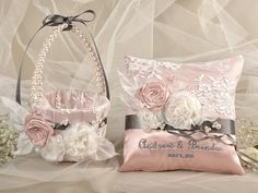 Flower Girl Basket & Ring Bearer Pillow Set, Custom Embroidery,