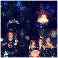 fantastic ideas for 6 year-old's glow party-- include glow sticks in invitations, make your own glow slime, use pipe cleaners to make necklaces, crowns, etc., bubble bath and glow sticks for favors