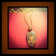 Anthropologie Jewelry - 🐍SALE Palm Wood Tribal Mask Gold Chain Necklace🐍
