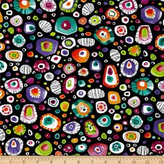 Rio Medallions Black from @fabricdotcom  Designed by Paintbrush Studios for Fabri-Quilt, this cotton print is perfect for quilting, apparel and home décor accents.  Colors include black, white, red, orange, pink, lime, green, blue and purple.