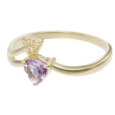 9ct Yellow Gold Amethyst  CZ Double Heart Ring $120 - purejewels.com.au