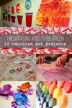 Encourage Kids to Be Green: 10 Recycled Art Projects for Kids - - Recycled art projects for kids to create can be a great way to encourage them to reuse what they already have, giving them an easy taste of being green. Recycled Art Projects, Recycled Crafts, Projects For Kids, Craft Projects, Craft Ideas, Diy Ideas, Craft Activities For Kids, Crafts For Kids, Arts And Crafts