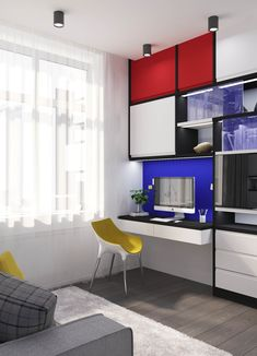Piet Mondrian Inspired Interior Design for Your Home The De Stijl Flair Piet Mondrian, Mondrian Kunst, Interior Shutters, Room Interior, Interior Office, Interior Painting, Modern Interior Design, Interior Styling, Shutters For Sale