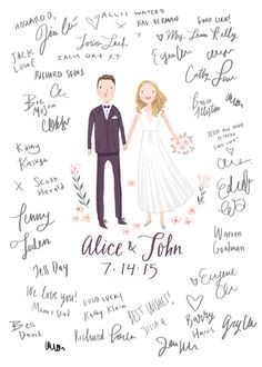 A custom illustration poster designed by Helloam for your guests to sign. #guestbook