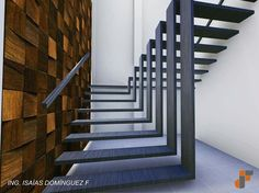 Two flights of stairs flow seamlessly into one another in this sleek sculptural staircase designed by Mexican architecture studio Arquitectura en Movimiento. Stairs Architecture, Architecture Design, Amazing Architecture, Escalier Design, Steel Stairs, Modern Stairs, Staircase Design Modern, Modern Buildings, Floating Stairs