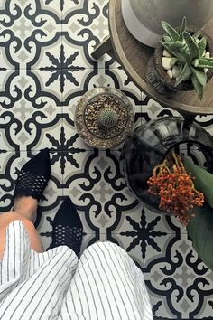 Decobella  Kleio Jean pattern tile one of Decobella's top sellers and you can see why  See more by vising the website  #decobella #tiletrends #patterntiles #bathroomideas #tiles #tiletrends #kitchentiles