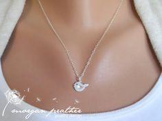 Little Bird Necklace in Silver  Dainty Little by morganprather, $23.00
