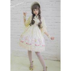 中国のロリータブランド・ATELIER THE LITTLE ROE DEER(小狍子洋服工作室)のRAGDOLL OF MIDSUMMER ワンピースです。 シルク地にラメ入りチュールを重ねた袖がキラキラ&ふんわり♡ 胸元の編み上げが薔薇のブレードなのも可愛い。 襟元と裾のレースにもキラキラしているラメが付いていますよ☆