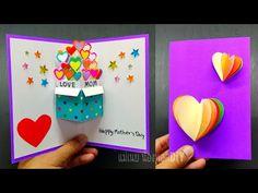 DIY Pop-up card#ทำการ์ดป๊อปอัพวันแม่แบบกิ๊บเก๋/แม่เนย น้องพอสDIY - YouTube Diy Birthday Card For Boyfriend, Father Birthday Cards, Cute Birthday Cards, Pop Up Flower Cards, Pop Up Cards, Christmas Angel Crafts, Paper Quilling Cards, Homemade Cards, Cardmaking