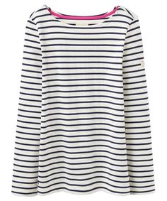 Women's Joules Harbour Striped Jersey Top - Creme Stripe