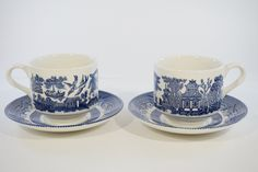 Churchill Blue Willow Tea Cups