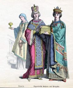 court dress | Ancient Byzantine nobility costumes, crowns, tunika and court dress.