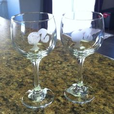 Barbie party etched glasses.