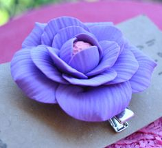 Polymer Clay: Purple passion Flower Hair clip.